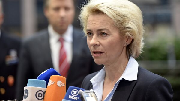German Minister of Defence Ursula von der Leyen talks to journalists prior to the start of an European Union Defence Ministers' meeting at the EU Council in Brussels on November 17, 2015 - Sputnik Italia