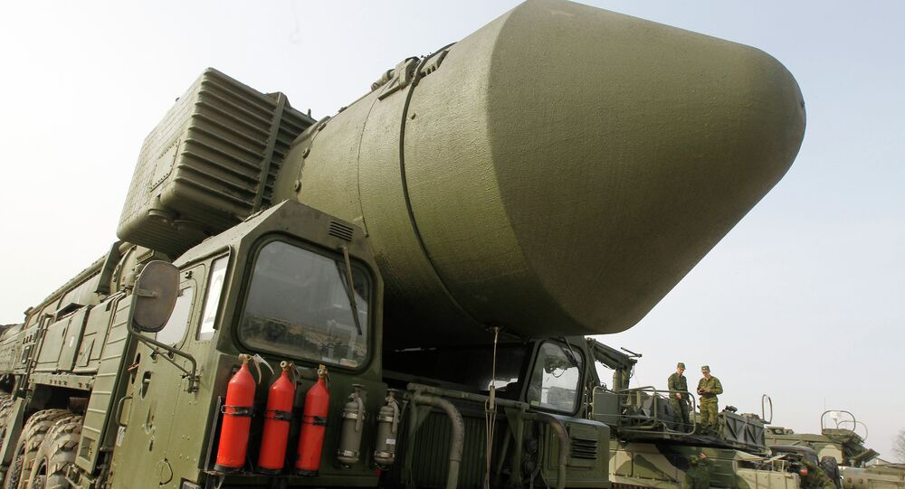The Topol M missile system shown at Alabino range near Moscow