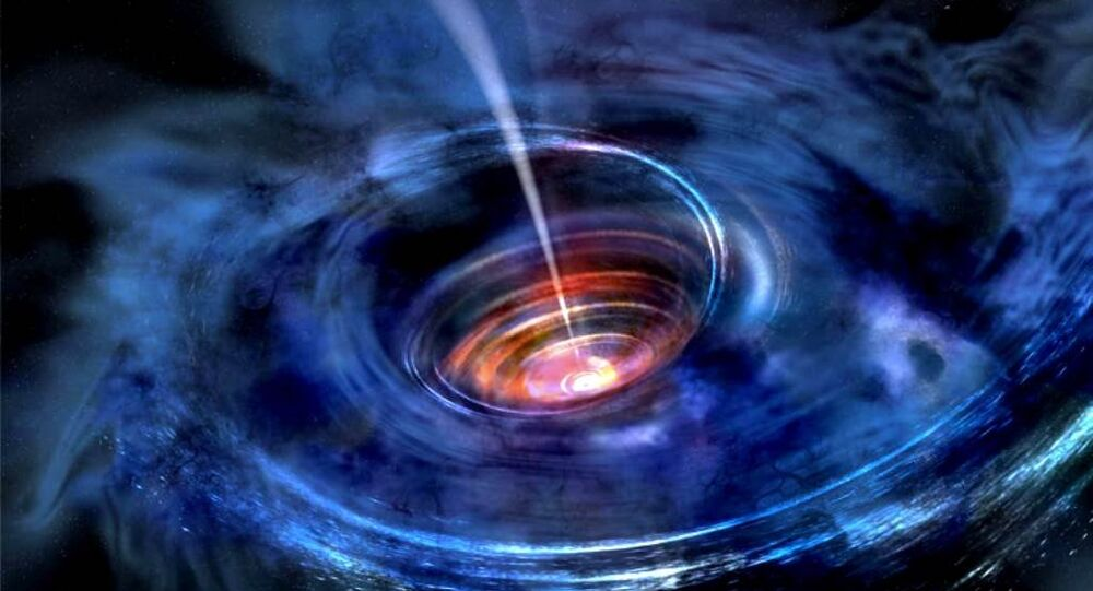 In this artist's rendering, a thick accretion disk has formed around a supermassive black hole following the tidal disruption of a star that wandered too close.