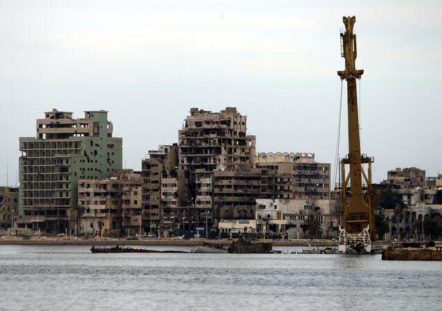 Edifici distrutti a Bengasi, Libia