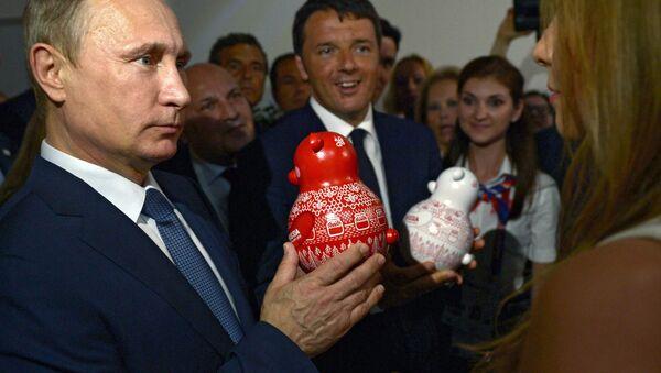 Putin e Renzi al padiglione russo di EXPO 2015 - Sputnik Italia