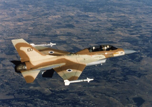 An Israeli Air Force F-16 jet fighter in flight over Israel 1980.