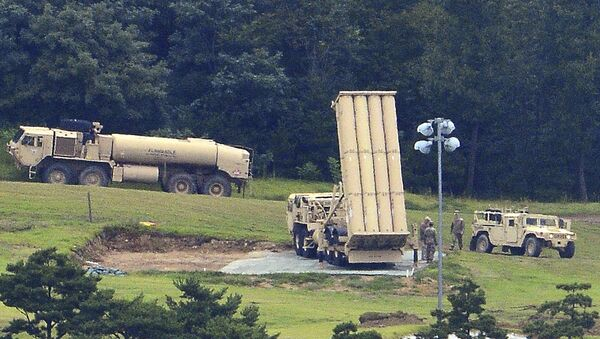 U.S. missile defense system called Terminal High Altitude Area Defense, or THAAD, is seen at a golf course in Seongju, South Korea, Wednesday, Sept. 6, 2017 - Sputnik Italia