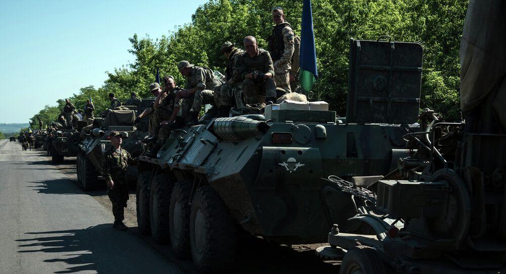 Colonna esercito ucraino nel Donbass