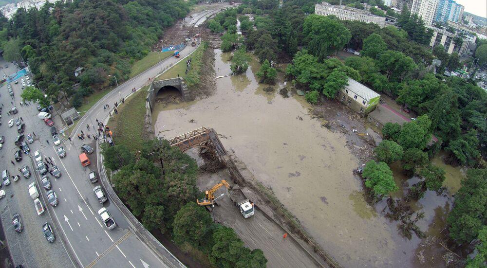Le aree inondate di Tbilisi.