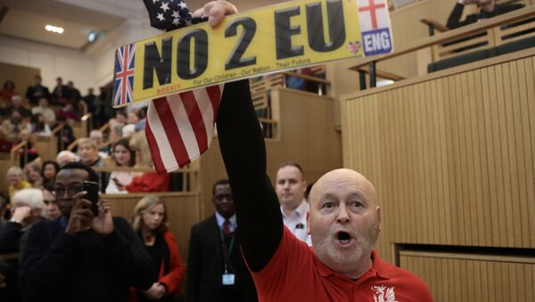 A demonstrator holds a pro-Brexit sign and a U.S. flag, as the speech by the Mayor of London, Sadiq Khan, is interrupted at the Fabian Society New Year Conference, in central London, Britain January 13, 2018 - Sputnik Italia
