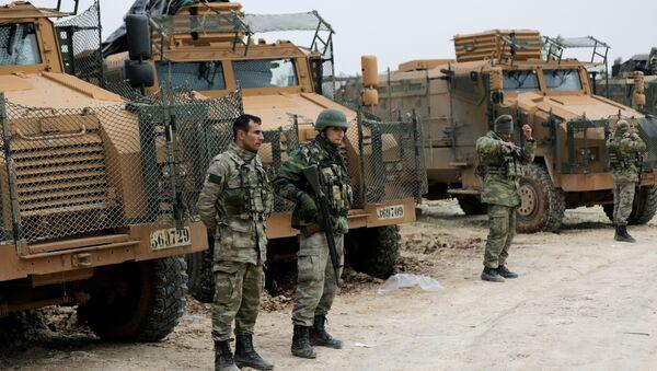 Turkish forces are seen near Mount Barsaya, northeast of Afrin, Syria January 22,2018 - Sputnik Italia
