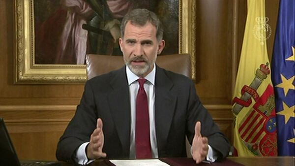 In this image taken from video released by Spanish Royal Palace, Spain's King Felipe VI delivers a speech on television from Zarzuela Palace in Madrid, Tuesday, Oct. 3, 2017. - Sputnik Italia