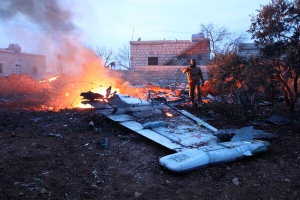 Il caccia Su-25 abbattuto in Siria - Sputnik Italia