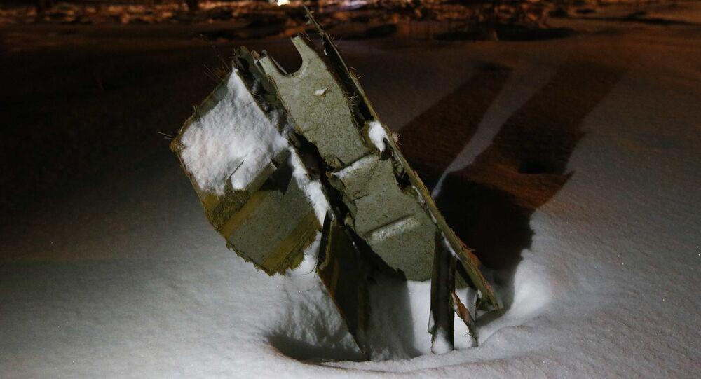 Il relitto dell'aereo An-148