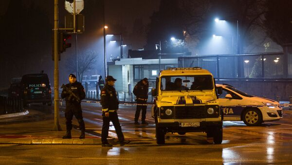 Police guard the entrance to the United States embassy building in Podgorica, Montenegro, February 22, 2018 - Sputnik Italia