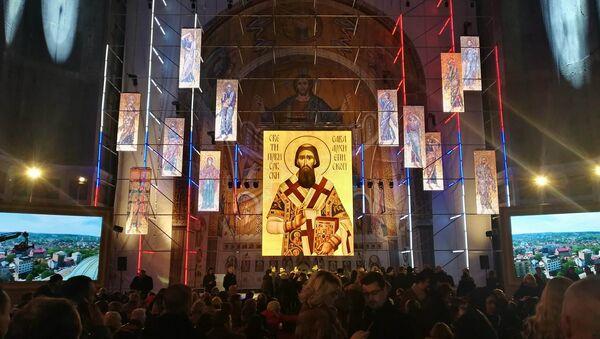 I lavori di realizzazione del mosaico nella cupola della Chiesa di San Sava a Belgrado. - Sputnik Italia
