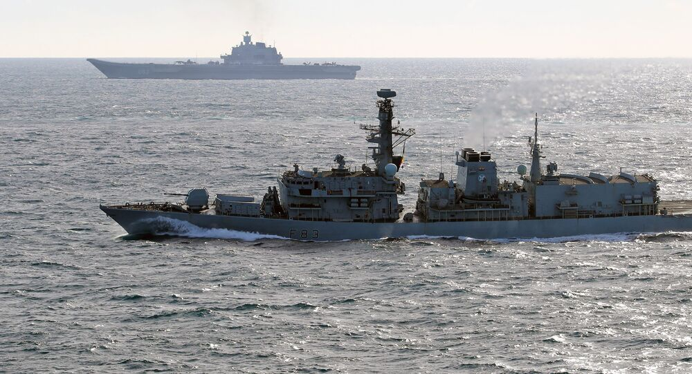 British Navy and Air Force escort Admiral Kuznetsov aircraft carrier through the English Channel