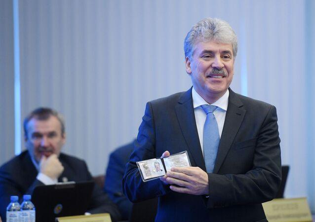Il candidato alle presidenziali, Pavel Grudinin, Partito Comunista Russo