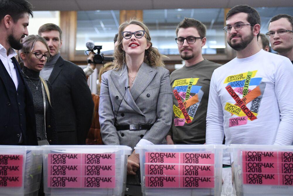 La candidata alle presidenziali dal partito Iniziativa civile Ksenia Sobchak.