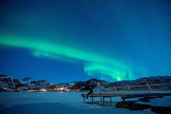 L'aurora boreale alle Isole Lofoten in Norvegia. - Sputnik Italia