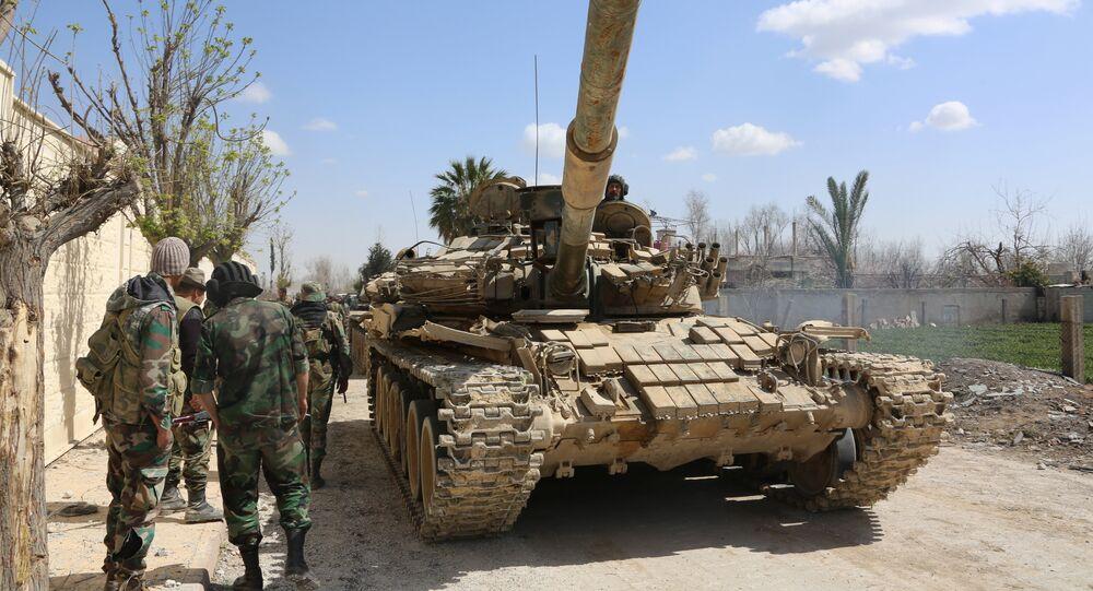 Soldati siriani sul fronte della Ghouta orientale