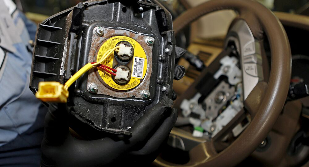 A recalled Takata airbag inflator is shown in Miami, Florida, US on June 25, 2015.
