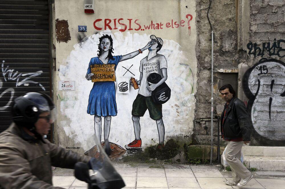 Graffiti su una casa ad Atene.
