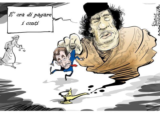 Gheddafi si è vendicato con il presidente francese dall'aldilà.