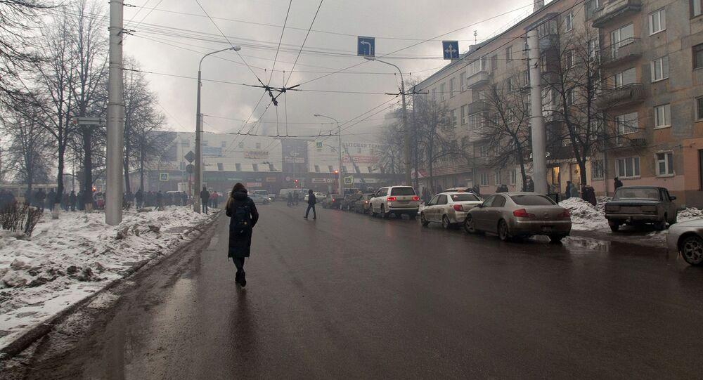 Fumo dal centro commerciale di Kemerovo