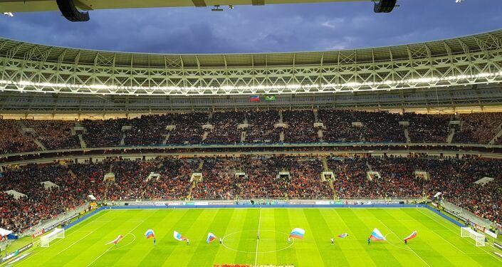 Lo stadio Luzhniki di Mosca prima del fischio d'inizio dell'amichevole Russia-Brasile