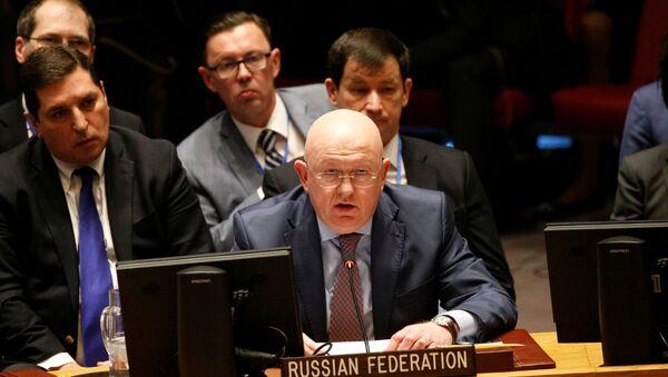 Il rappresentante permamente della Russia nell'ONU Vasily Nebenzya a una seduta del Consiglio di Sicurezza. - Sputnik Italia