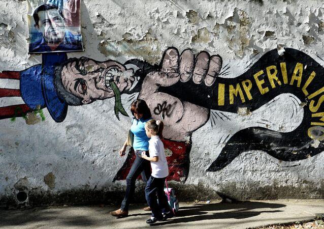 Un graffito anti USA a Caracas