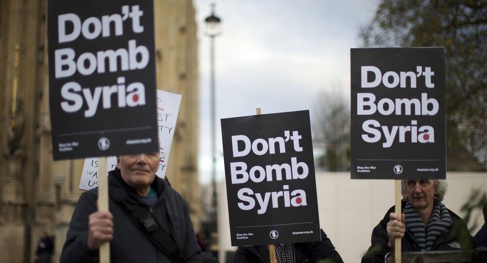 Dimostrazione contro il conflitto in Siria