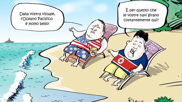 Incontro di Mike Pompeo e Kim Jong-un secondo la visione del nostro caricaturista. - Sputnik Italia