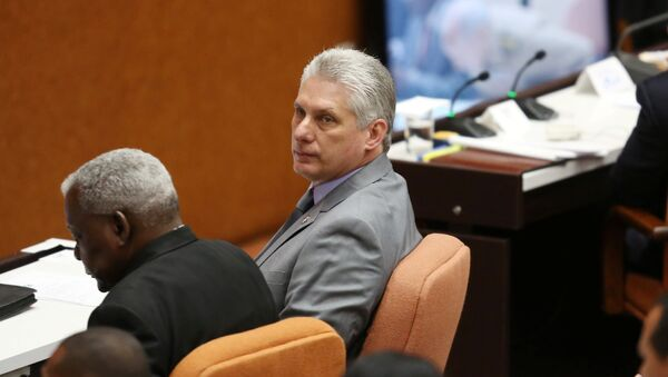 Cuba's First Vice-President Miguel Diaz-Canel (C) takes part in a session of the National Assembly in Havana, Cuba - Sputnik Italia