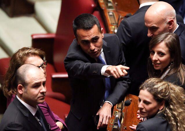 Il leader 5 stelle Luigi Di Maio alla Camera dei Deputati