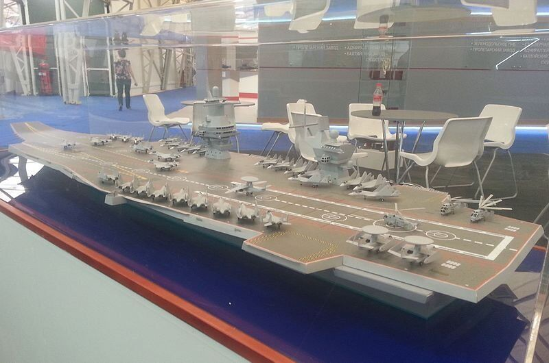 Model aircraft carrier project 23000E at the «Army 2015»