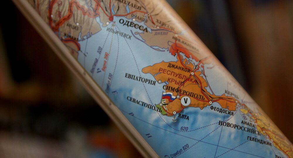Mappa con la Crimea russa