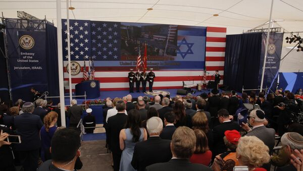 Presentation of colors by U.S Marines and singing of the U.S national anthem during the opening ceremony of the new US embassy in Jerusalem, Monday, May 14, 2018 - Sputnik Italia
