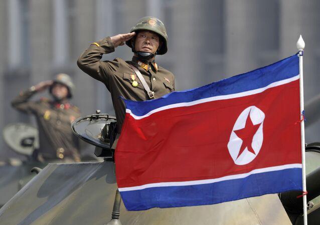 La bandiera della Corea del Nord.