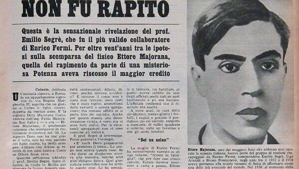 La scomparsa di Ettore Majorana in un vecchio giornale - Sputnik Italia
