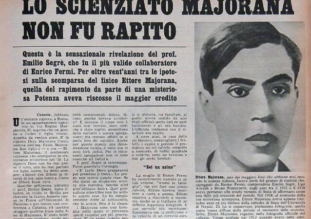 La scomparsa di Ettore Majorana in un vecchio giornale