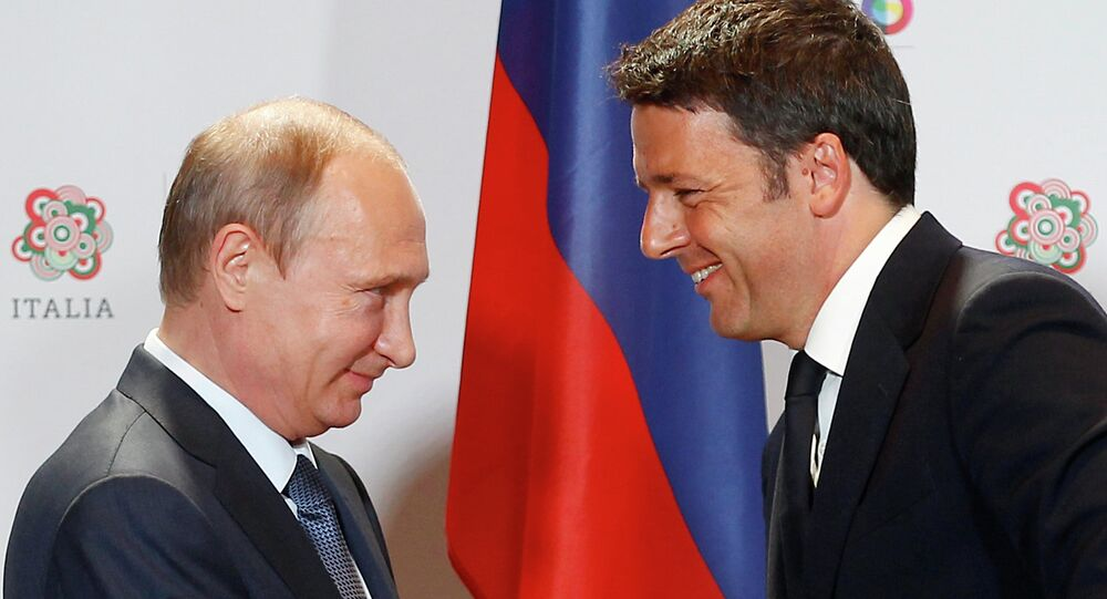 Italian Premier Matteo Renzi with Russian President Vladimir Putin at the 2015 Expo, in Rho, near Milan, Italy