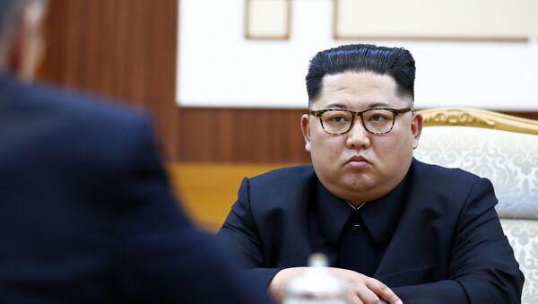 L'incontro tra il ministro degli Esteri russo, Sergei Lavrov, e il leader della Corea del Nord, Kim Jong Un. - Sputnik Italia