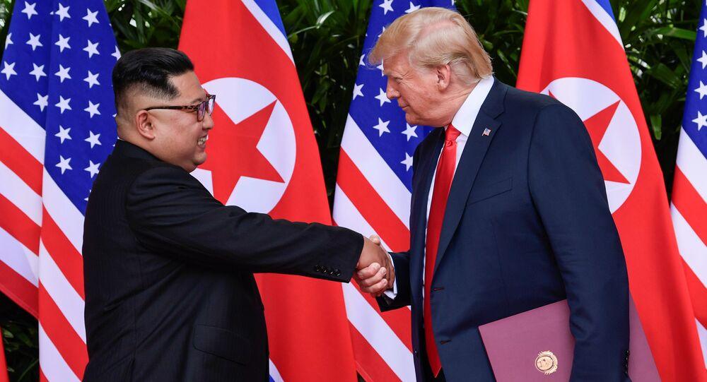 Kim Jong-un e Donald Trump a Singapore