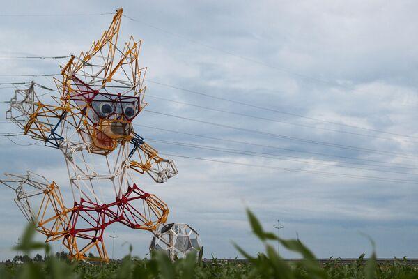 La mascotte dei Mondiali 2018 il lupo Zabivaca nella regione di Kaliningrad. - Sputnik Italia