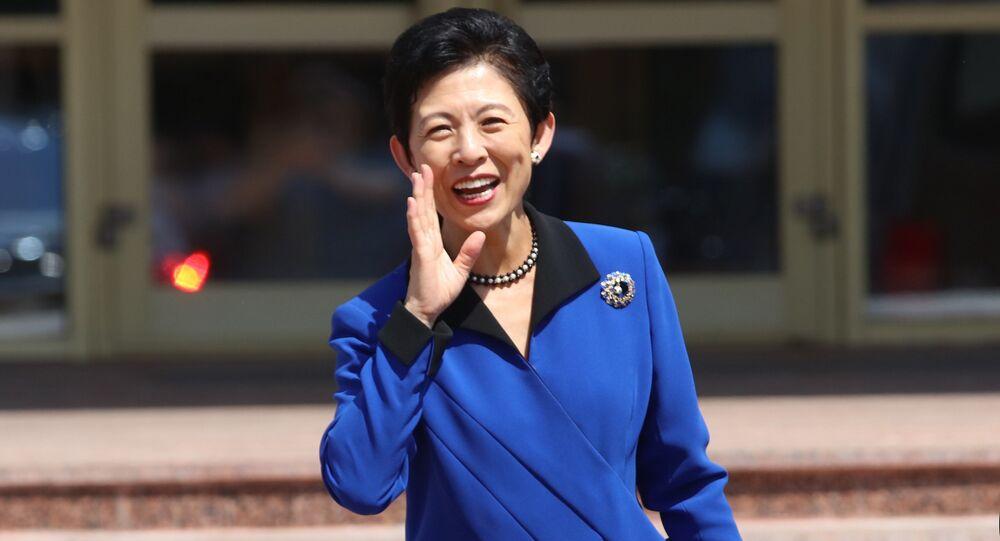 Japan's Princess Takamado leaves museum in Saransk, Russia June 19, 2018