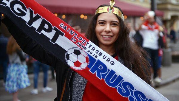 Una tifosa prima della partita Russia-Egitto - Sputnik Italia