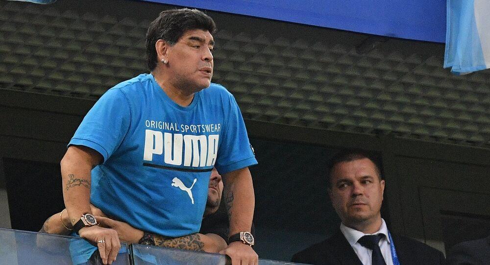 FILE PHOTO: Soccer Football - World Cup - Group D - Nigeria vs Argentina - Saint Petersburg Stadium, Saint Petersburg, Russia - June 26, 2018 Diego Maradona in the stands