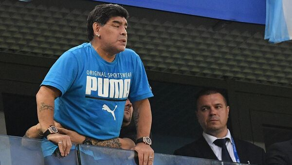 FILE PHOTO: Soccer Football - World Cup - Group D - Nigeria vs Argentina - Saint Petersburg Stadium, Saint Petersburg, Russia - June 26, 2018 Diego Maradona in the stands - Sputnik Italia