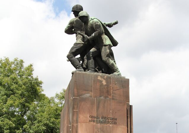A war memorial in Poland, dedicated to the Soviet and Soviet-allied Polish troops who fought to free Poland from Nazi occupation between 1944 and 1945. The vast majority of Poland's war monuments were created by famous local sculptors.