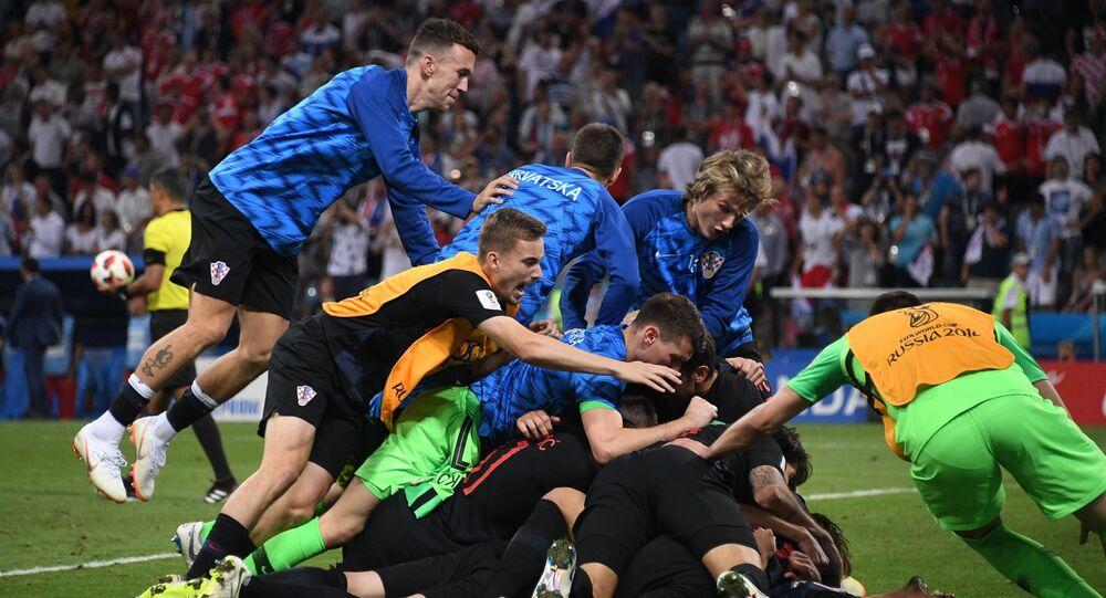 La gioia dei giocatori croati dopo il rigore decisivo della partita contro la Russia