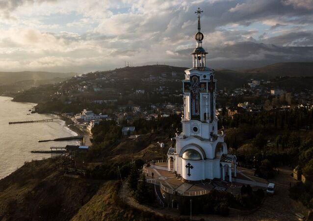 St. Nicholas' Beacon and Church in the Malorechenskoye Village, Sudak District, Crimea