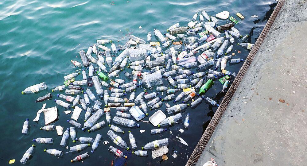 Bottiglie di plastica in mare